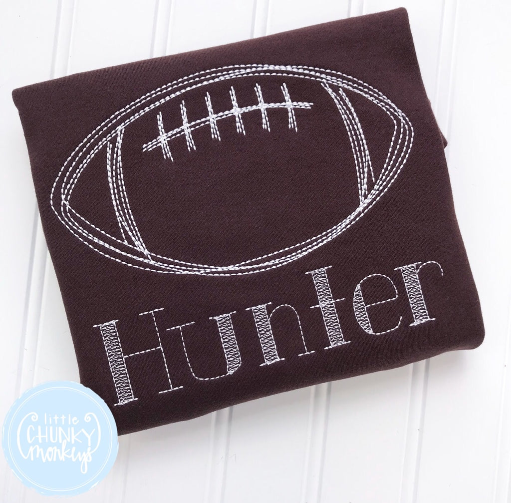 Boy Outfit - Boy Shirt - Personalized Stitch Football Shirt on Brown