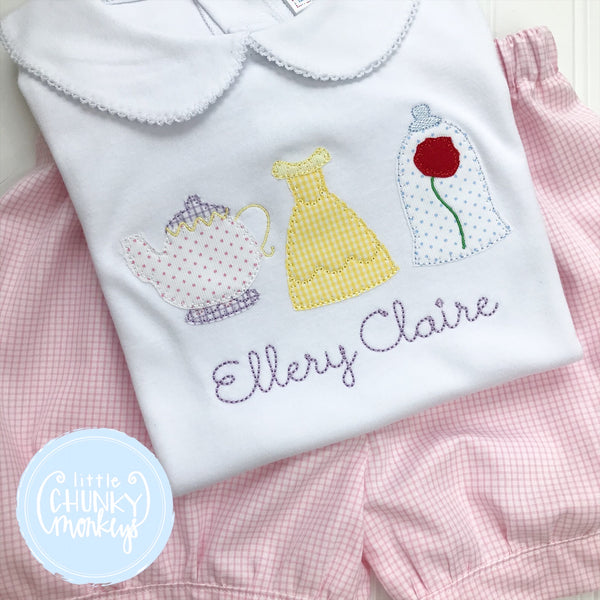 Girl Peter Pan Collar Shirt - Applique Princess Trio