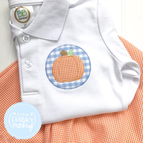 Boy Polo Shirt - Pumpkin Applique