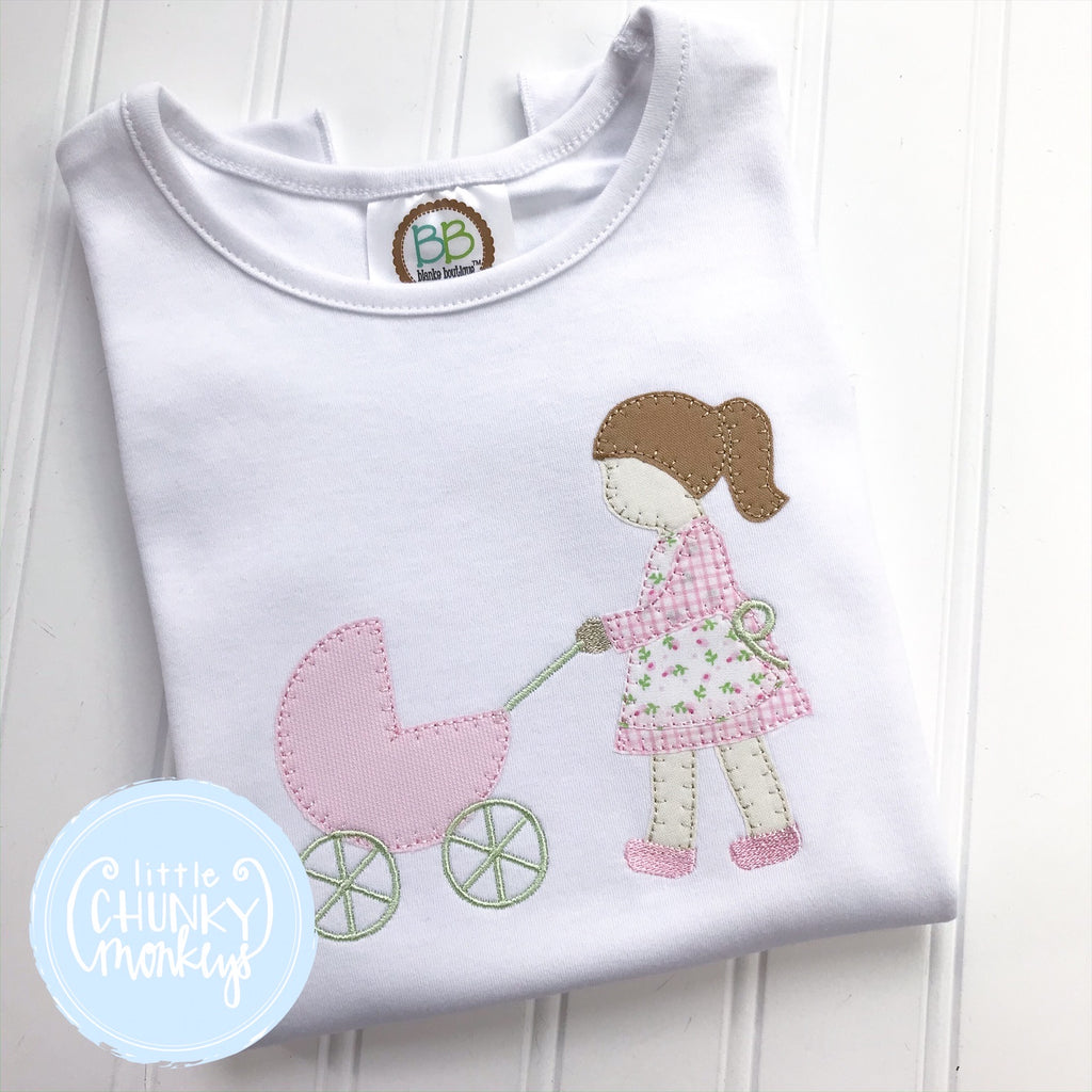 Girl Shirt - Little Girl Pushing Carriage