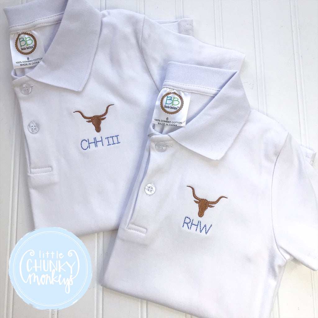 Boy Polo Shirt - Embroidered Longhorn with Personalization