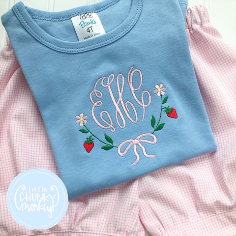 Girl  Shirt - Monogram Tee with a Strawberry and Bow Border