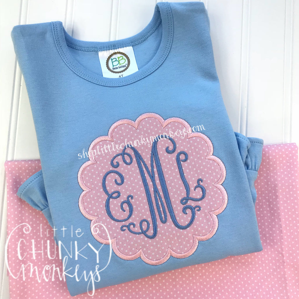 Girl Outfit - Girl Shirt - Personalized Scallop Circle on Light Blue Shirt