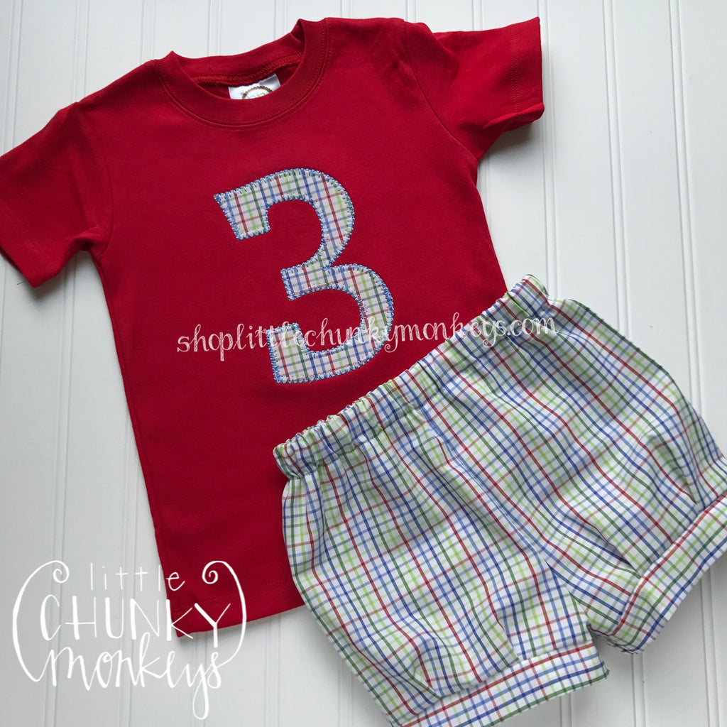 Boy Shirt - Boy Birthday Shirt - Personalized Birthday Tee with Applique Number on Red Shirt