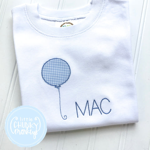 Boy Shirt - Applique Balloon on white shirt