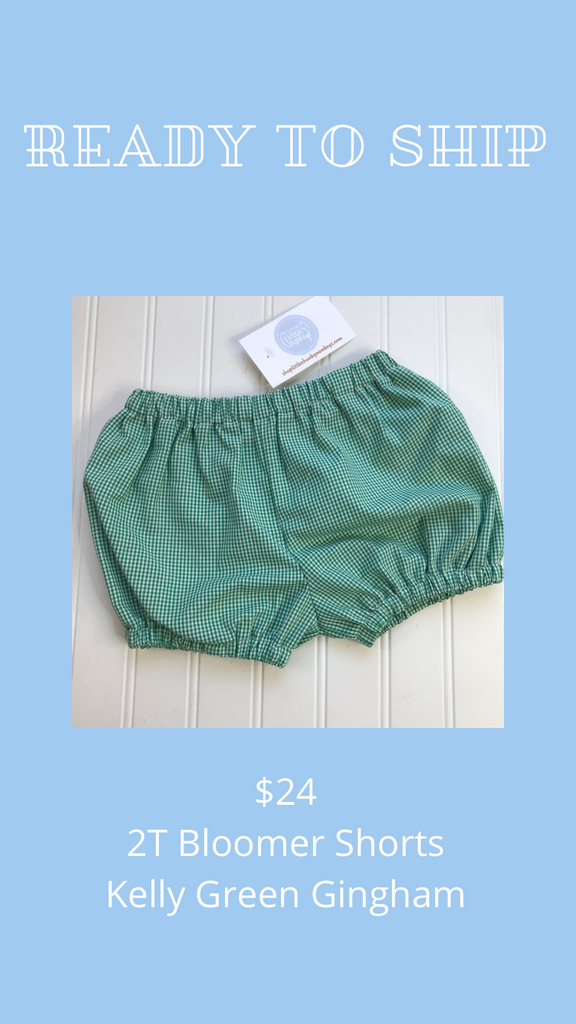 Ready to Ship - Kelly Green Gingham - 2T Bloomer Shorts