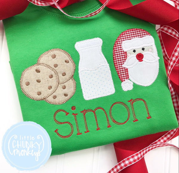 Boy Shirt - Christmas Cookies, Milk, and Santa + Personalization