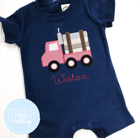 Boy Romper - Log Truck on Navy Romper