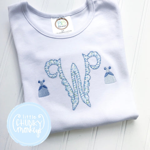 Girl Shirt - Appliqué Initial with Mini Princess Embroidery
