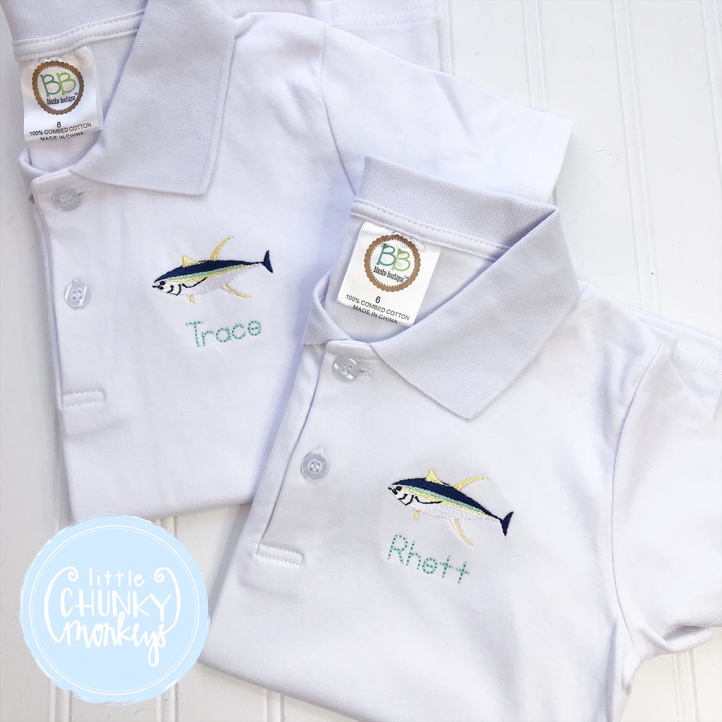 Boy Polo Shirt - Embroidered Fish with Personalization