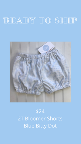 Ready to Ship - Blue Bitty Dot - 2T Bloomer Shorts