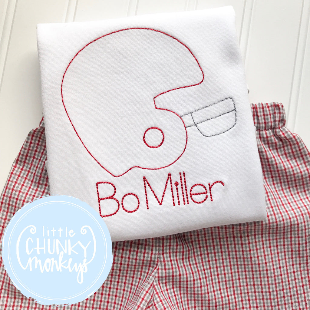 Boy Shirt - Boy Football Shirt - Vintage Stitch Football Helmet Shirt