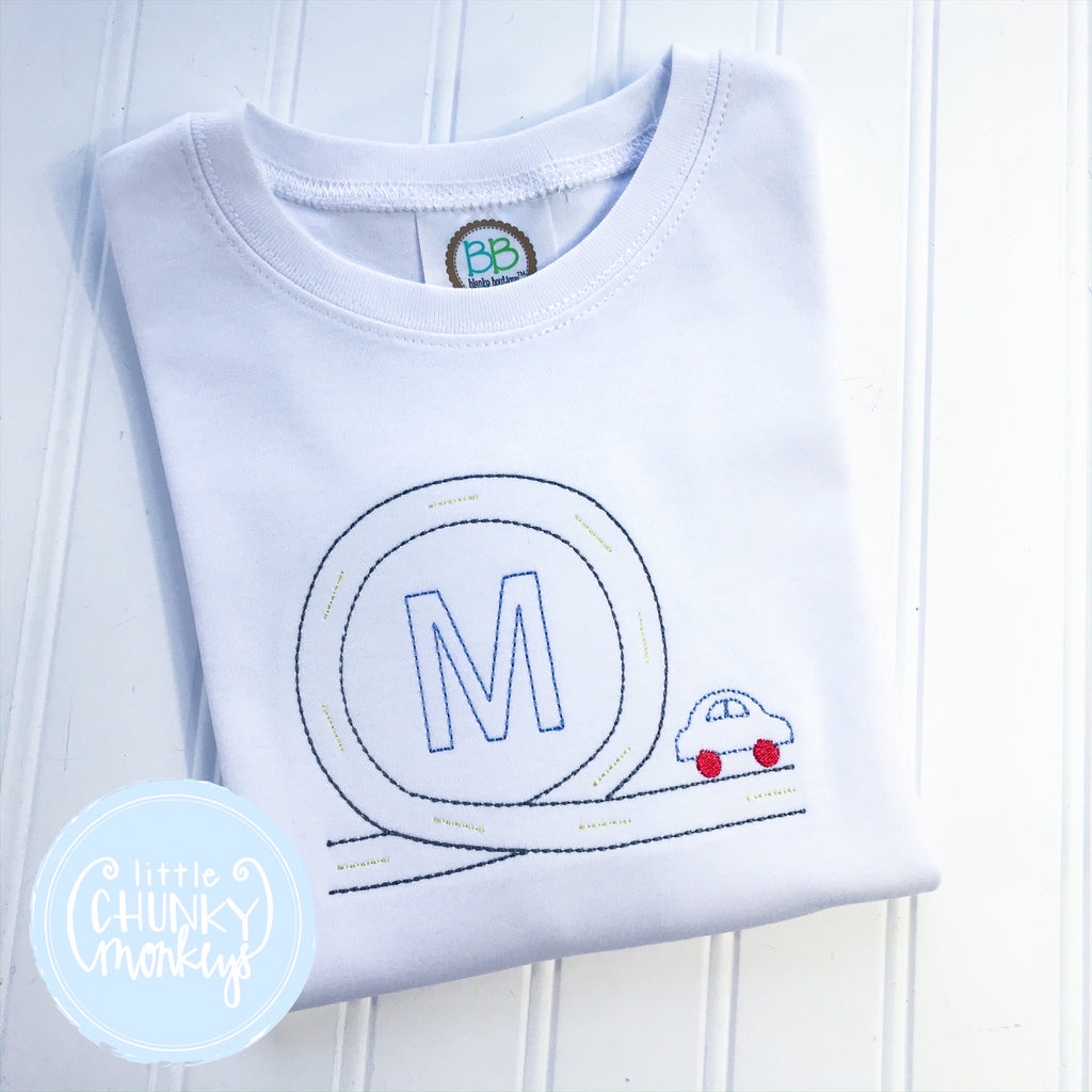 Boy Shirt - Initial with Car and Race Track on White Shirt