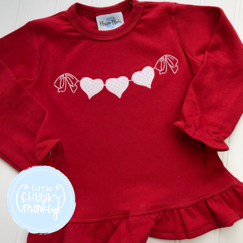 Girl Shirt - Girl Valentine Shirt - Vintage Heart Banner on Red Shirt