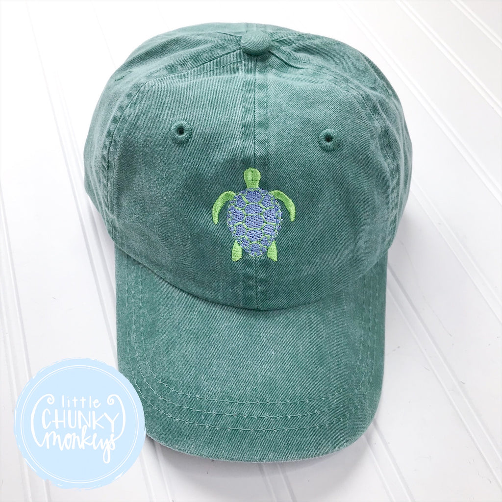 Toddler Kid Hat - Sea Turtle on Forest Green Hat