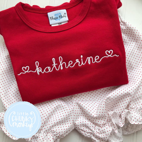 Girl Shirt- Valentine Shirt- Heart Embroidery Font
