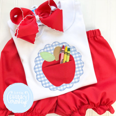 Girl Peter Pan Collar Shirt - Applique Apple Pocket Shirt