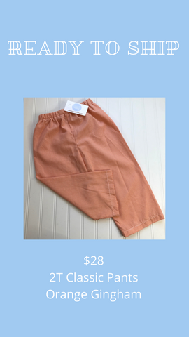 Ready to Ship - Orange Gingham - 2T Classic Pants