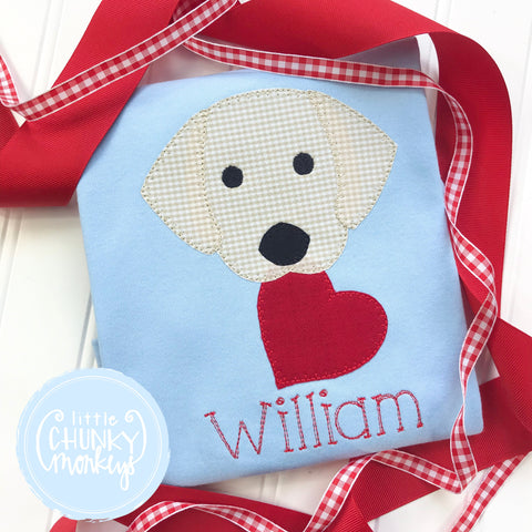 Boy Shirt - Boy Valentine Shirt - Valentine Puppy with Hearts on Light Blue Shirt