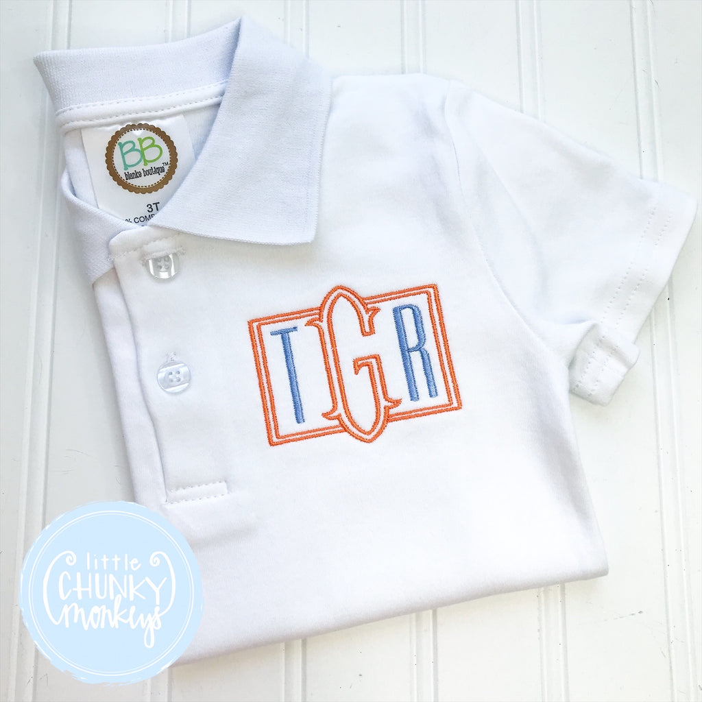 Boy Polo Shirt - Masculine  Monogram on White Polo Shirt