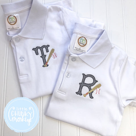 Boy Polo Shirt - Single Applique Initial with Baseball Bats