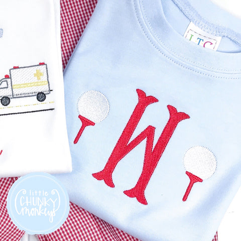 Boy Shirt - Embroidered Initial and Golf Tees on Light Blue shirt