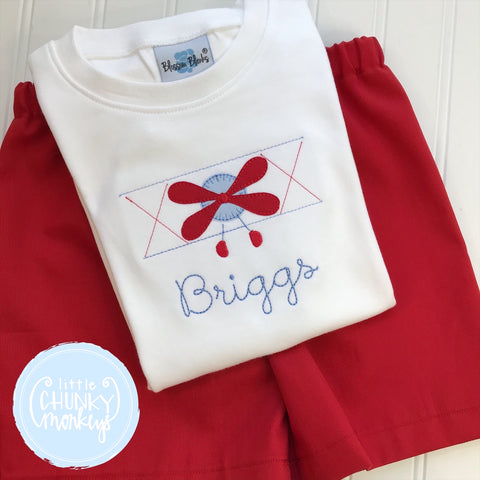 Boy Shirt - Applique Airplane on white shirt