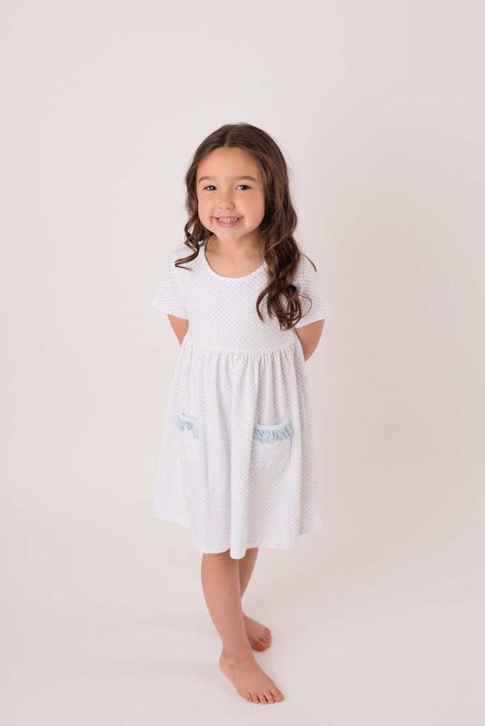 Pre-Order - Blue Bitty Dot Pocket Dress