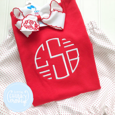 Girl Shirt - Circle Monogram with Bars on Red Shirt