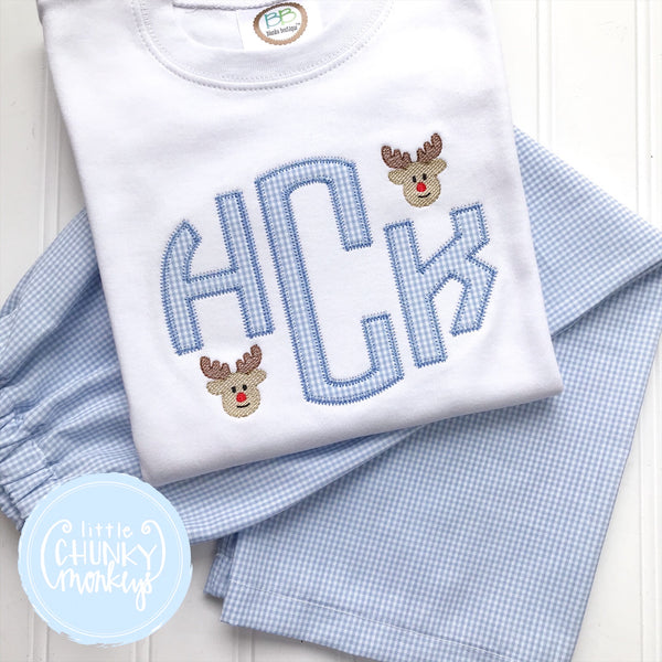 Boy Shirt -Applique Circle Monogram with Mini Reindeer