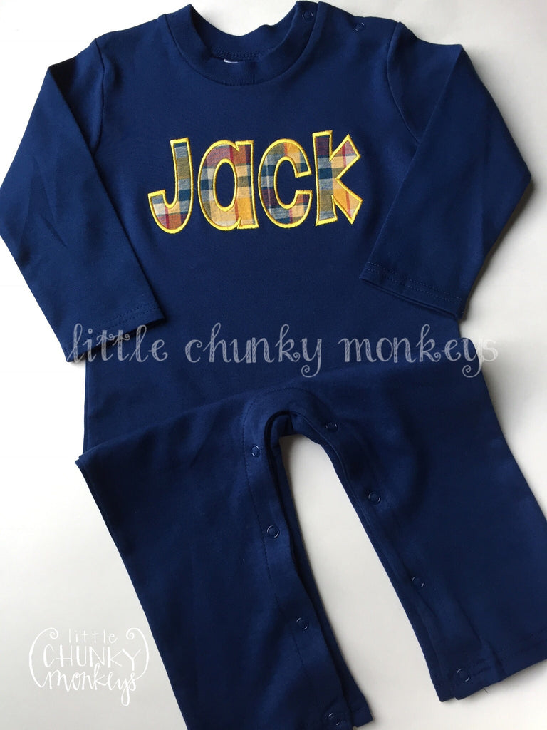 Boy Long Sleeve Romper - Plaid Applique Name on Navy Romper