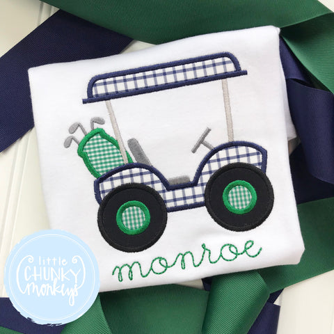 Boy Shirt- Navy and Green Golf Cart Shirt with Personalization
