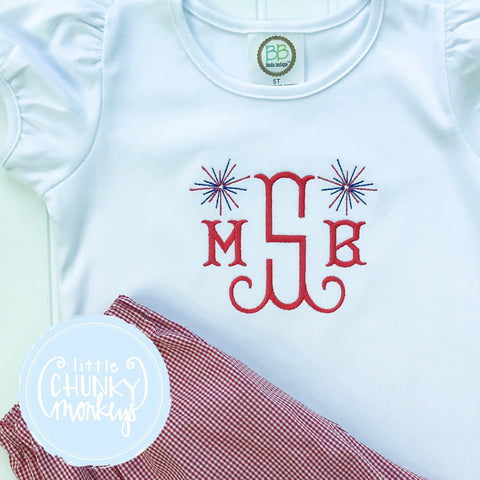 Girl Shirt - Monogram with Fireworks Minis