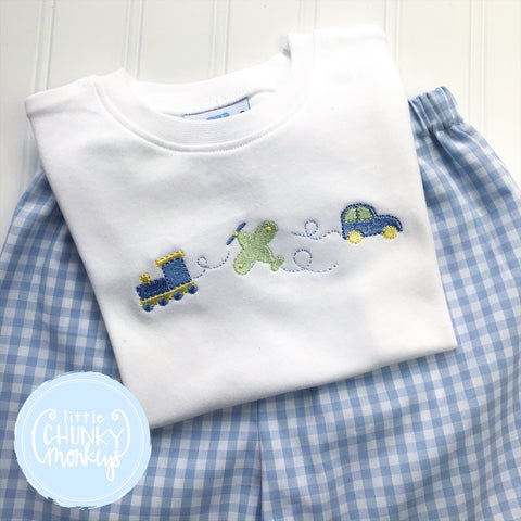 Boy Shirt - Stitch Transportation Trio