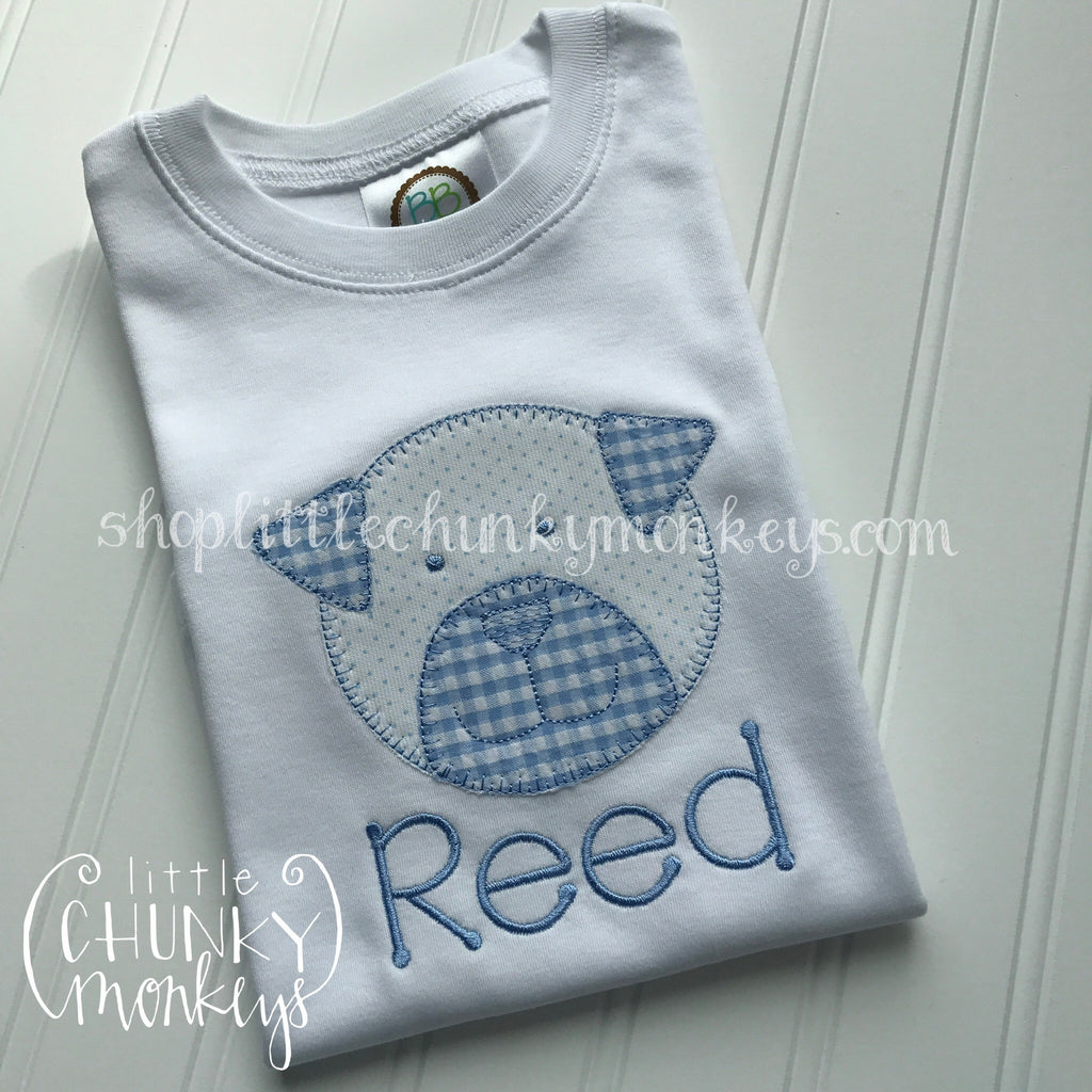 Boy Outfit - Boy Shirt - Personalized Stitch Applique Dog