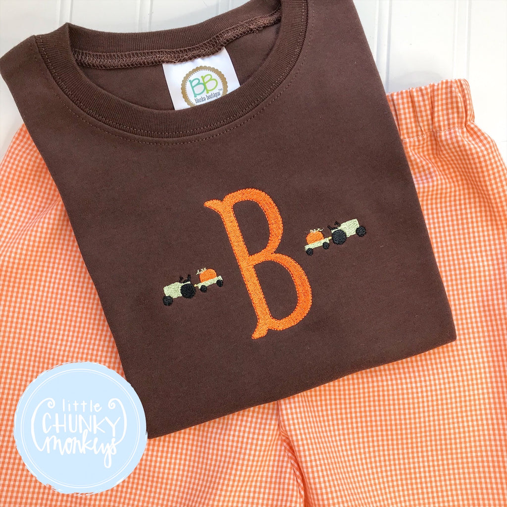 Boy Shirt -  Single Initial with Mini Tractors on Brown Shirt