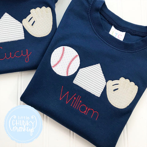 Boy Shirt - Baseball Trio On Navy Shirt