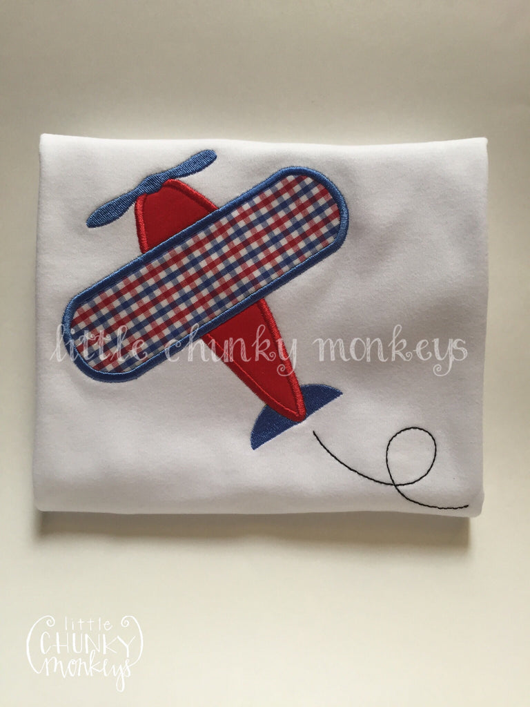 Boy Outfit - Boy Summer Shirt - Personalized red & Blue Airplane