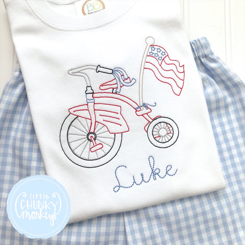 Boy Shirt- Patriotic Vintage Stitch tricycle
