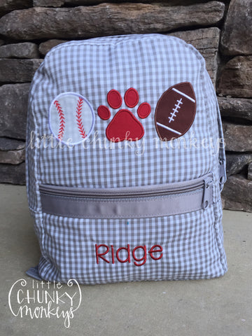 Backpack +Sports Appliqué Design on Grey Seersucker