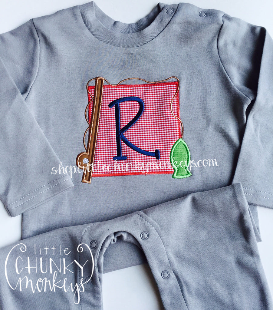 Boy Long Sleeve Romper - Fishing Applique on Grey Romper