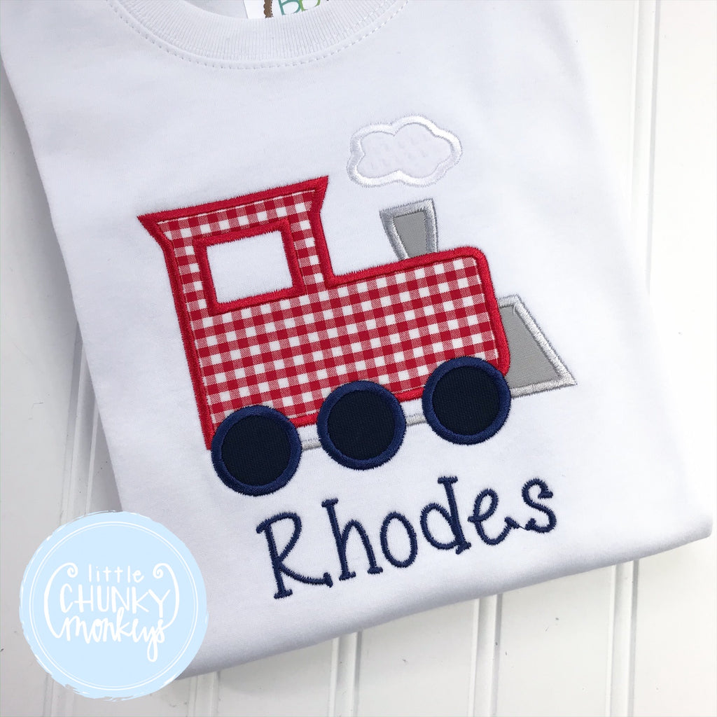 Boy Outfit - Boy Train Shirt - Personalized Train Applique Tee