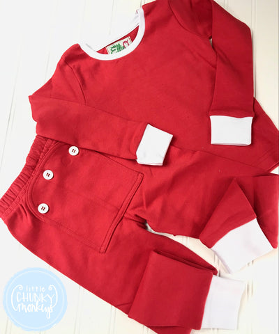 Pajama Set Toddler/Kids - Red Two Piece Button Bottom