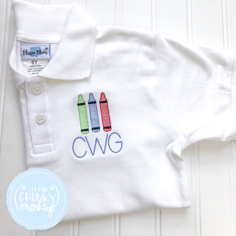 Boy Polo Shirt - Crayons and Initials