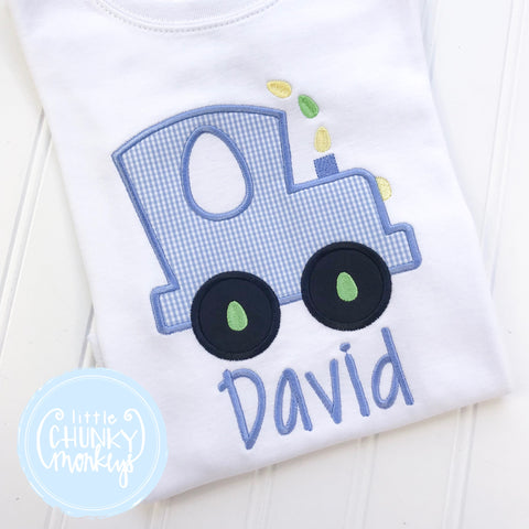 Boy Shirt - Applique Train on white shirt