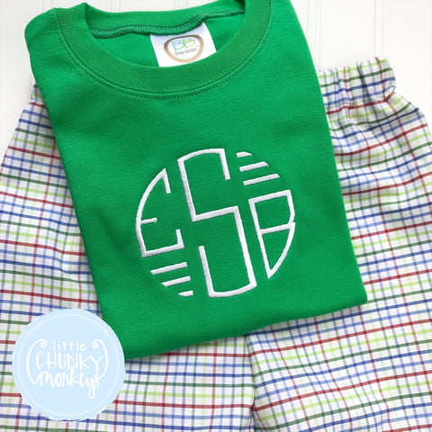 Boy Shirt - Stitched Circle Monogram with Bars on Green shirt