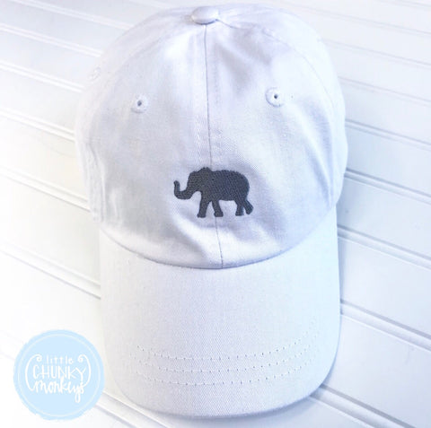 Toddler Kid Hat - White with gray elephant