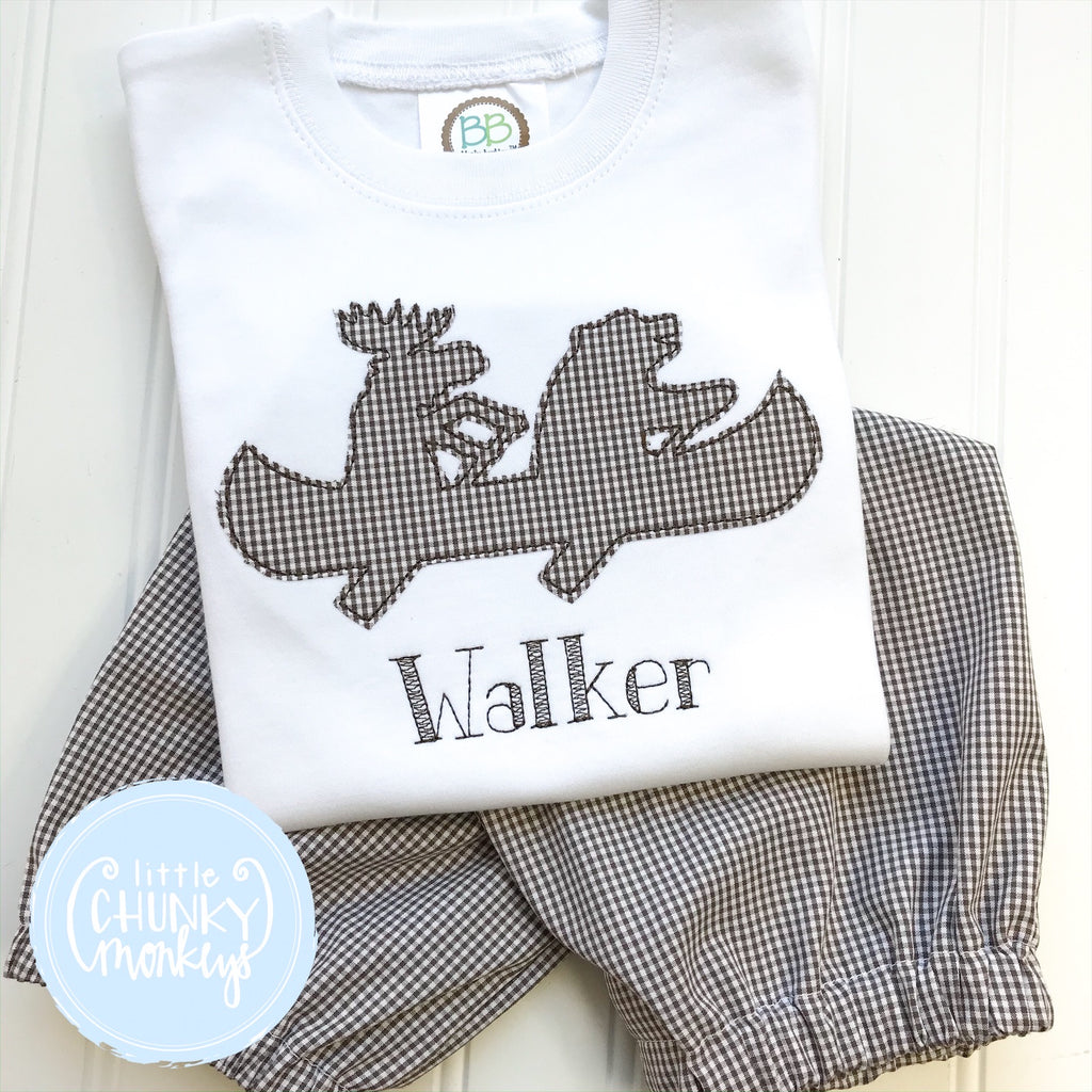 Boy Outfit - Boy Shirt - Canoe Applique on White Shirt