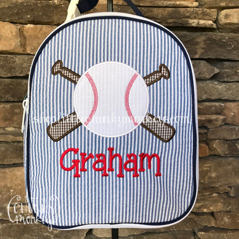 Gumdrop Lunch Box + Baseball Appliqué Design on Navy