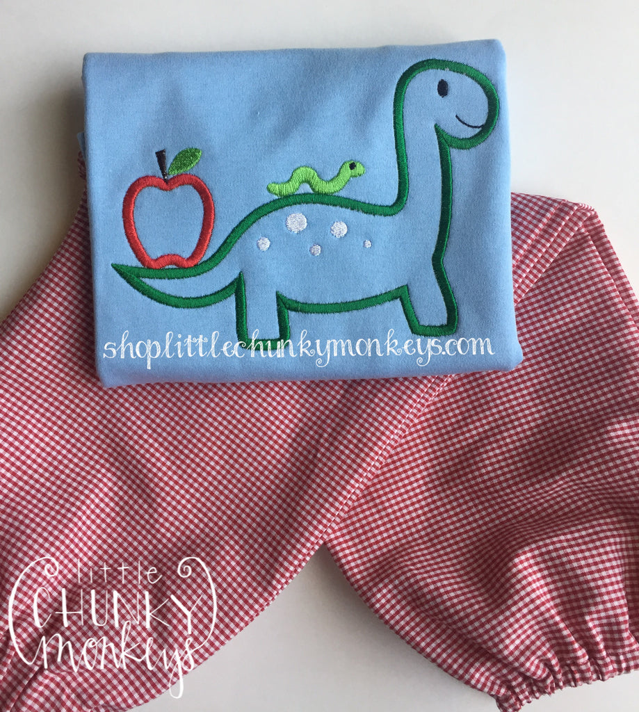 Boy Shirt - Boy School Shirt - Personalized School Dino on Light Blue Shirt